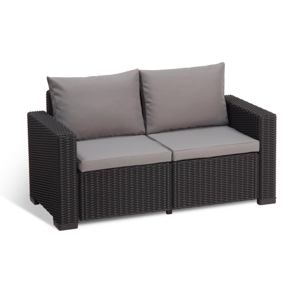 Keter California Graphite Plastic Wicker Outdoor Loveseat with Cool Grey  Cushions
