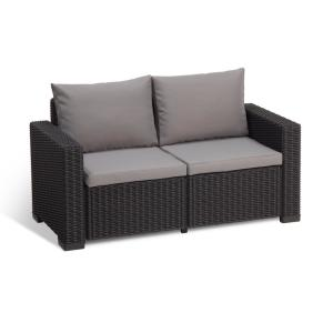 California Graphite Plastic Wicker Outdoor Loveseat with Cool Grey Cushions by
