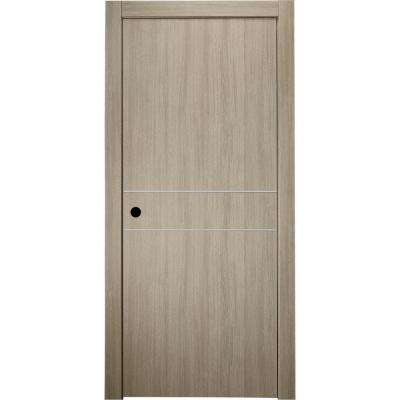 30 in. x 80 in. Viola 2HN Shambor Finished Aluminum Strips Left-Hand Solid Core Composite Single Prehung Interior Door