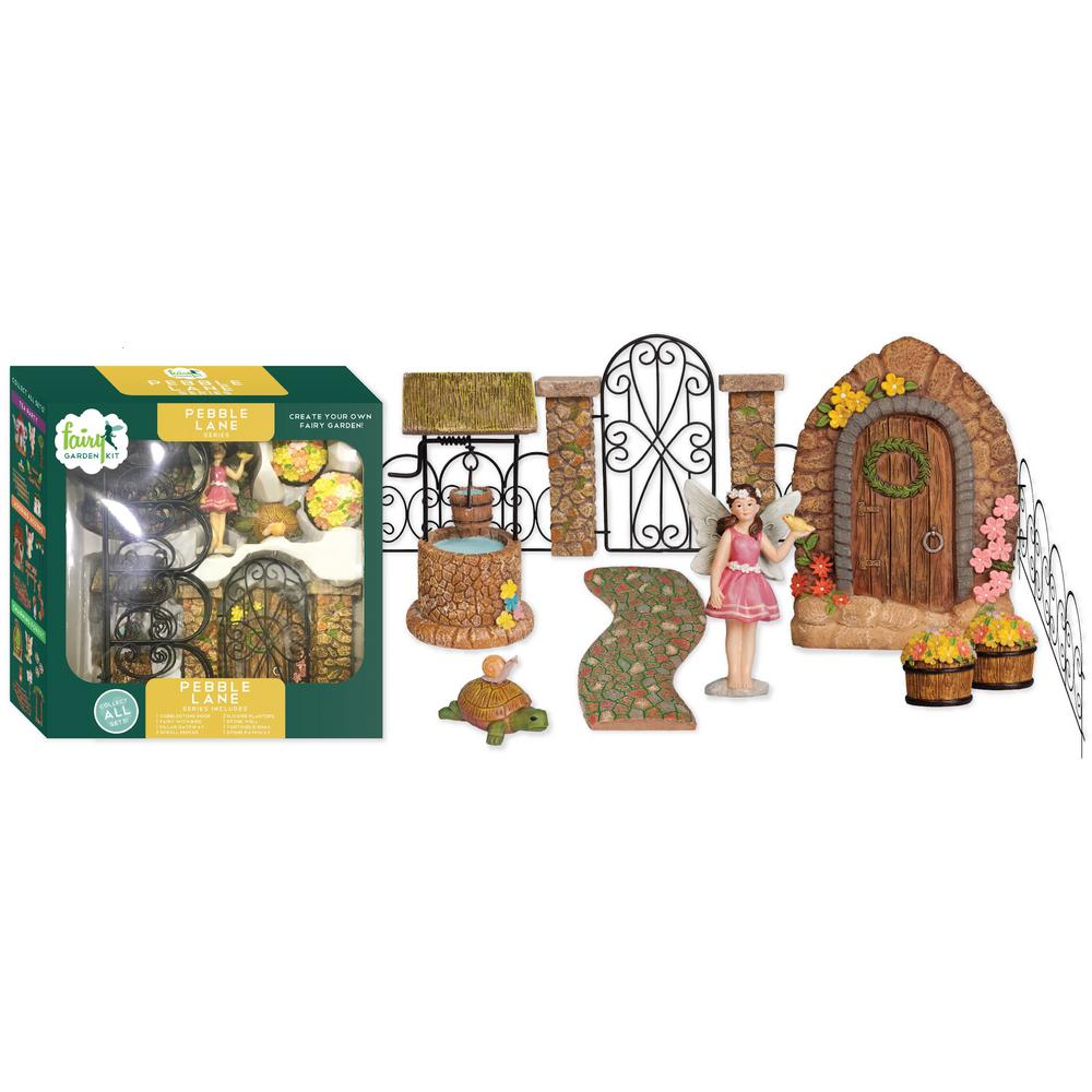 Arcadia Garden Products Pebble Lane Polyresin Fairy Garden Kit (11-Piece) This Fairy Garden Kit will inspire your creativity. You can easily design a miniature garden scene and step into a world of fantasy. Fairy Garden Kits make it easy to design unique and delightful gardens. Imagine the possibilities.
