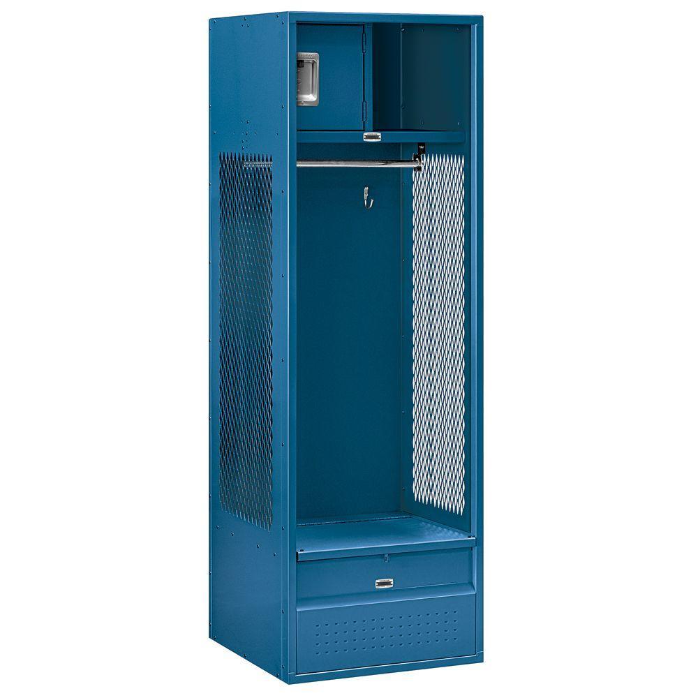 70000 Series 24 in. W x 72 in. H x 24 in. D Open Access Metal Locker Unassembled in Blue