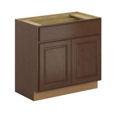Madison Assembled 36x34.5x21 in. Base Bathroom Vanity Cabinet in Cognac