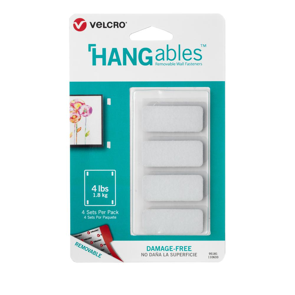 VELCRO Brand HANGables Removable Wall Fasteners 1-3/4 in. x 3/4 in. Strips (4-Count)