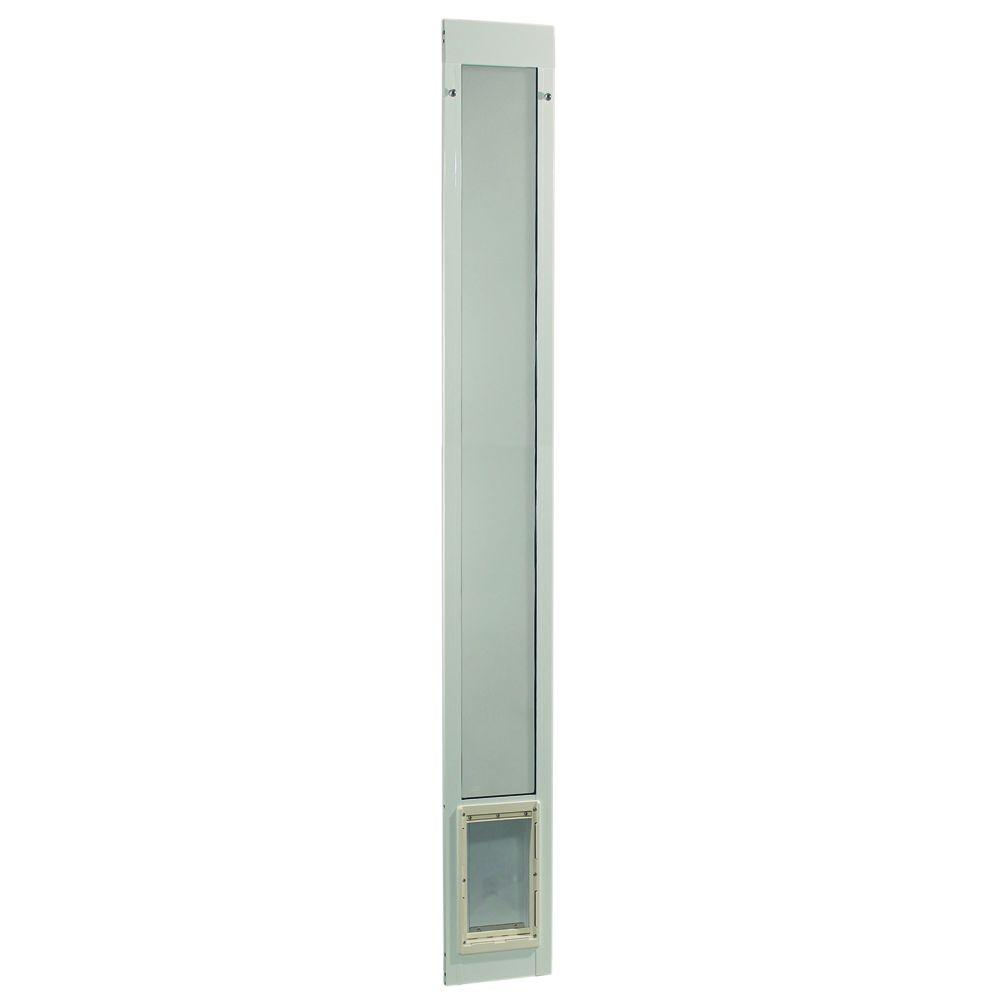 Ideal Pet 7 in. x 11.25 in. Medium White Aluminum Pet Patio Door Fits 93.75 in. to 96.5 in. Tall Sliding Glass Alum. Door