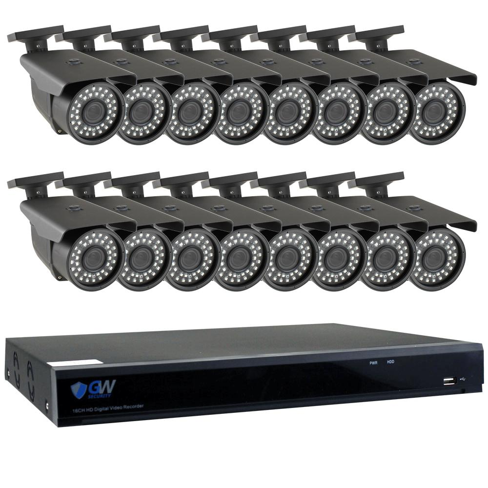 GW Security 16-Channel HD-Coaxial Security System with 16x GW561HD 5-MP Cameras 3.3 mm to 12 mm Varifocal Lens 98 ft. IR and 4TB HDD