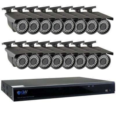 16-Channel HD-Coaxial Security System with 16x GW561HD 5-MP Cameras 3.3 mm to 12 mm Varifocal Lens 98 ft. IR and 4TB HDD