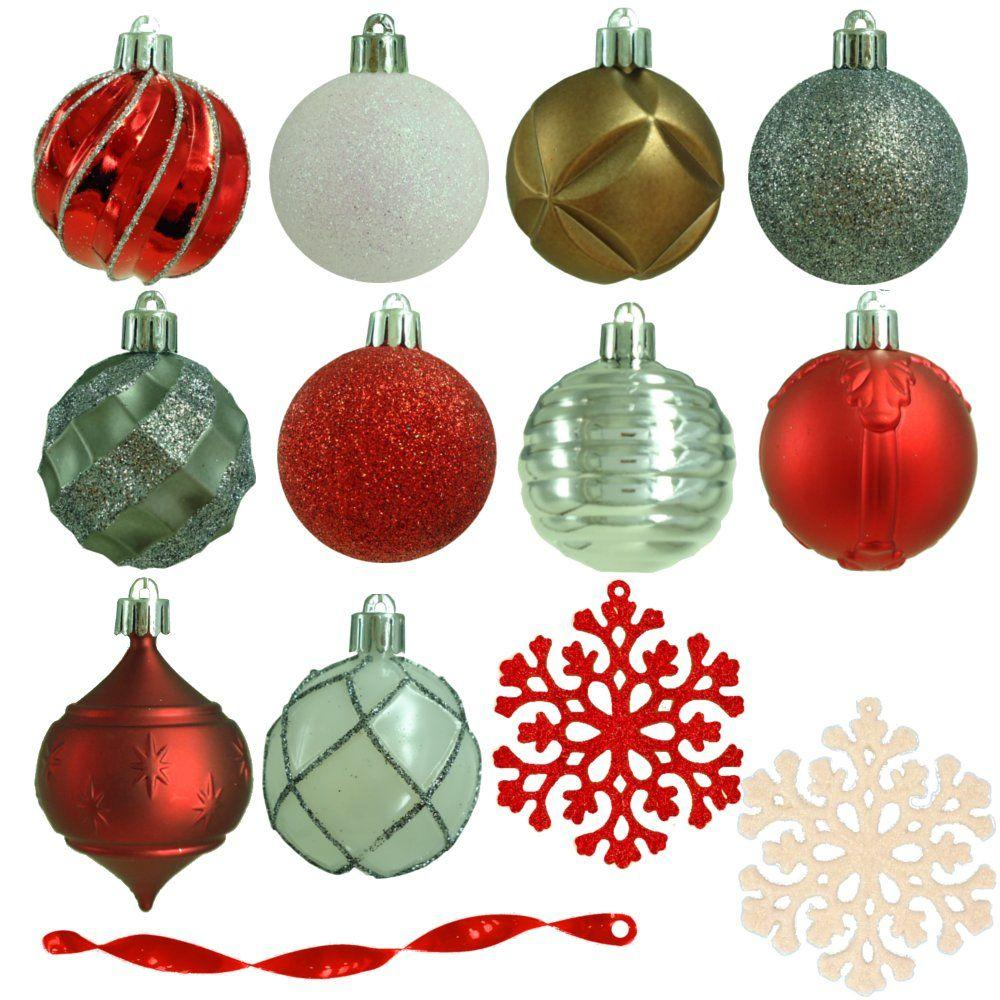 Martha Stewart Living 2.3 in. Winter Tidings Shatter-Resistant Ornament (101-Count)
