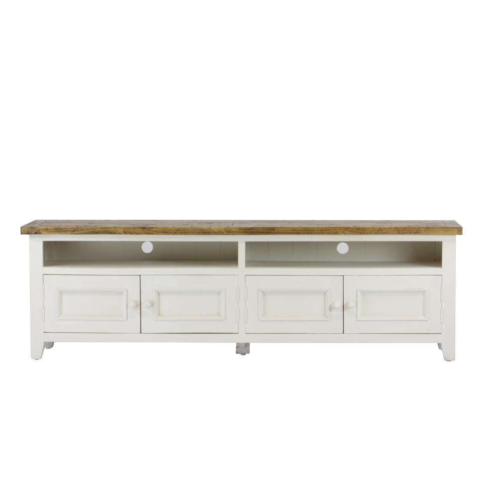 lux home byron distressed white solid reclaimed wood media table - Distressed White Tv Stands