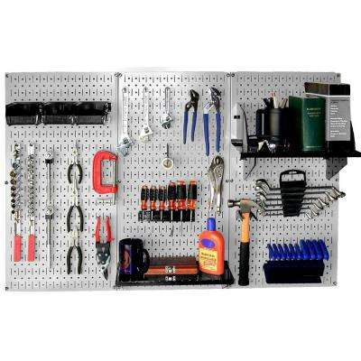 32 in. x 48 in. Metal Pegboard Standard Tool Storage Kit with Gray Pegboard and Black Peg Accessories