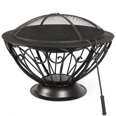 28.5 in. x 20.9 in. Round Metal Wood Burning Fire Bowl BBQ Grill Outdoor Fire Pit with Mesh Spark Screen Cover