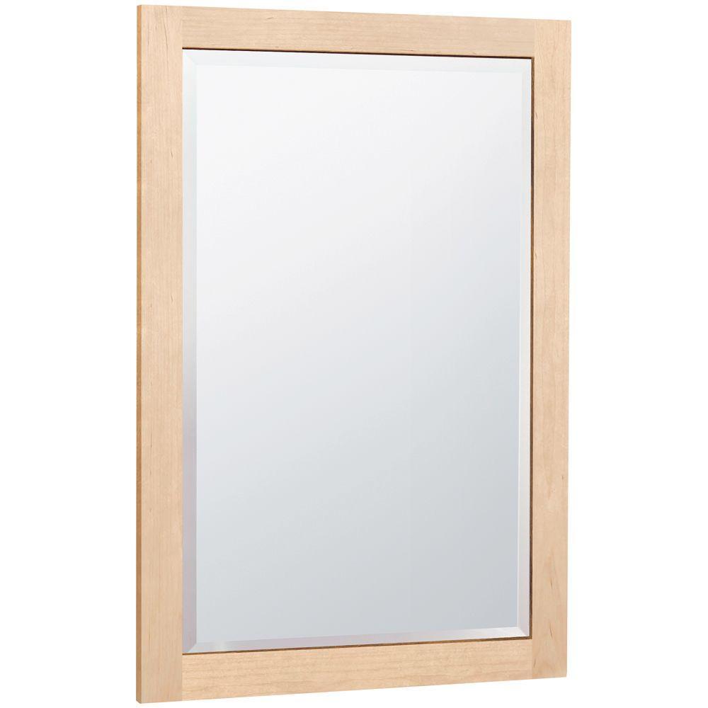 MasterBath 32 in. L x 20 in. W Wall Mirror in Natural Maple