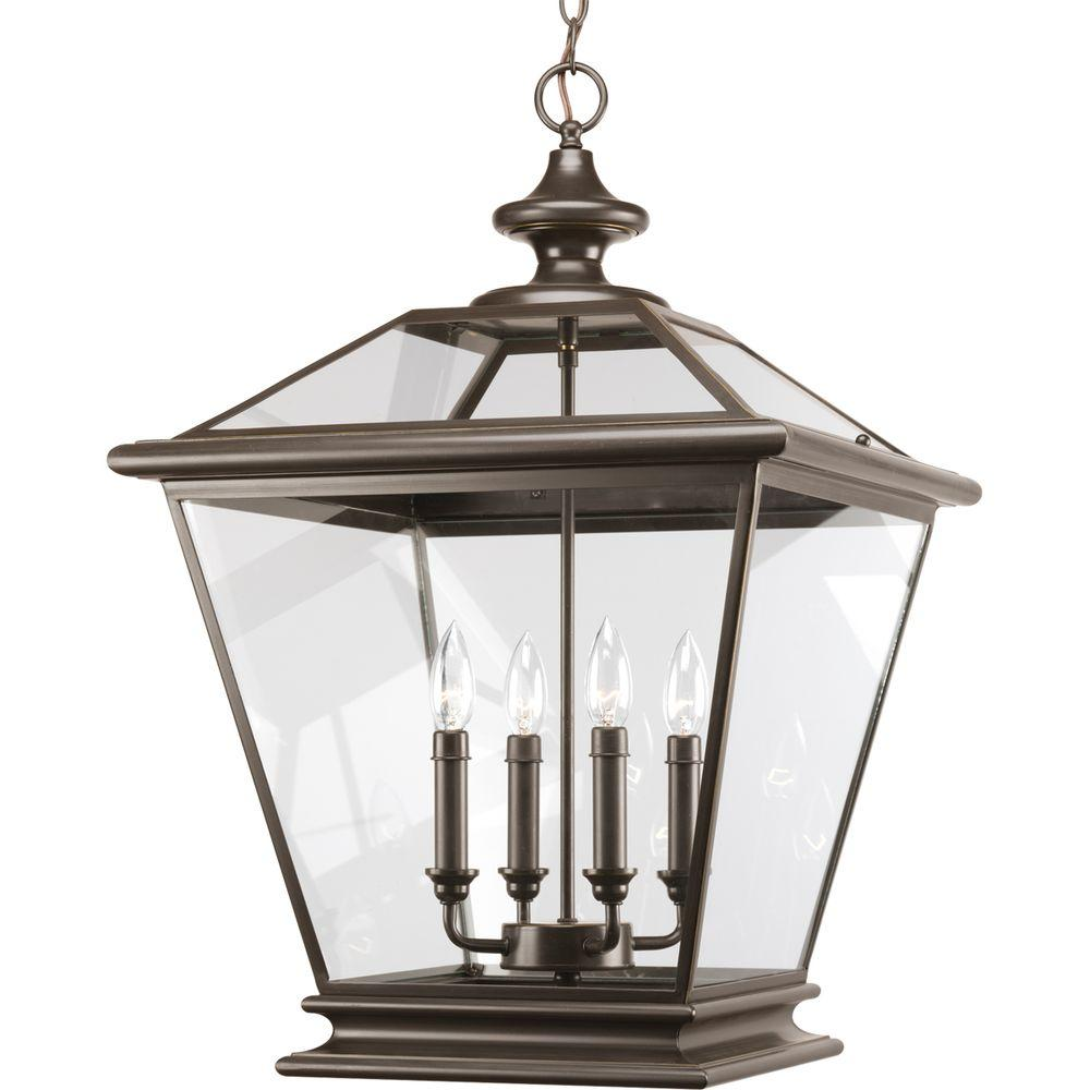 Progress Lighting Crestwood Collection 4 Light Antique Bronze Foyer Pendant With Clear Gl