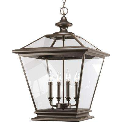 Crestwood Collection 4-Light Antique Bronze Foyer Pendant with Clear Glass