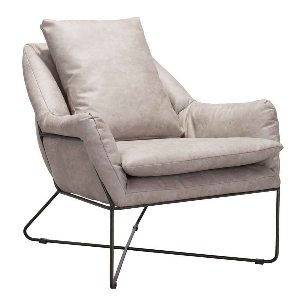 Zuo finn distressed gray lounge chair