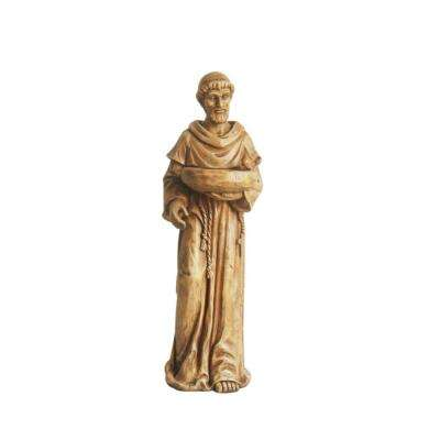 37 in. Fallow Brown St. Francis of Assisi with Bird Bird Bath