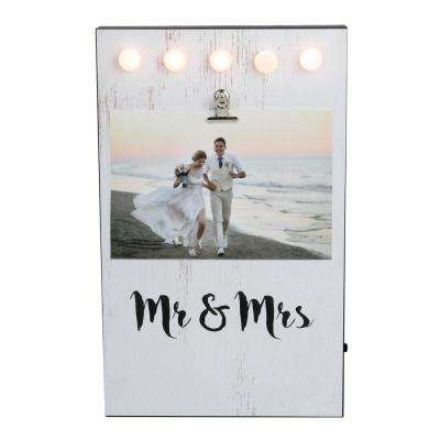 LED 4 in. x 6 in. Photo White Matte Lighted Mr & Mrs Wedding Day Picture Frame with Clip