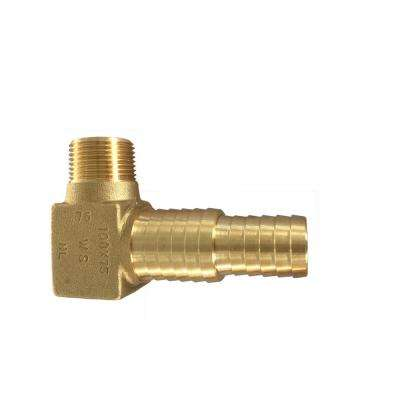 3/4 in. MNPT x 3/4 in. and 1 in. Dual Barb Brass Yard Hydrant Elbow