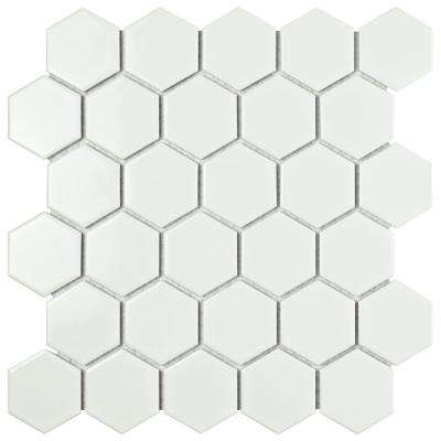 Metro Hex 2 in. Glossy White 10-1/2 in. x 11 in. x 5 mm Porcelain Mosaic Tile (8.21 sq. ft. / case)