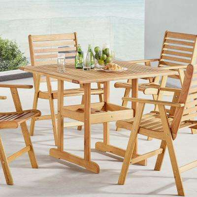Hatteras 36 in. Square Eucalyptus Wood Outdoor Dining Table in Natural