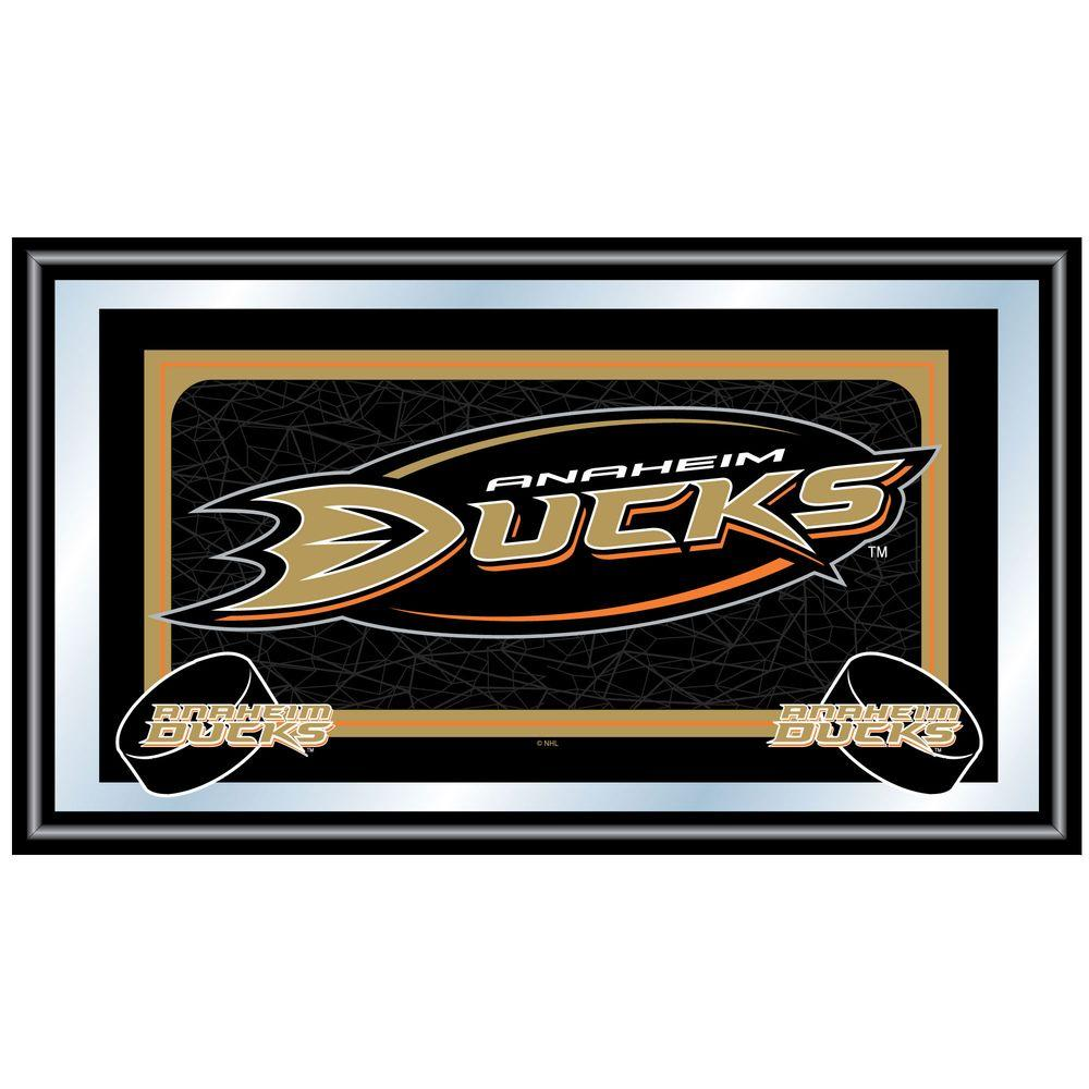 Trademark NHL Anaheim Ducks Logo 15 in. x 26 in. Black Wood Framed Mirror