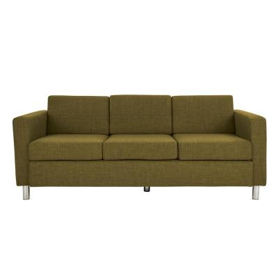 Pacific Green Fabric Sofa with Chrome Legs