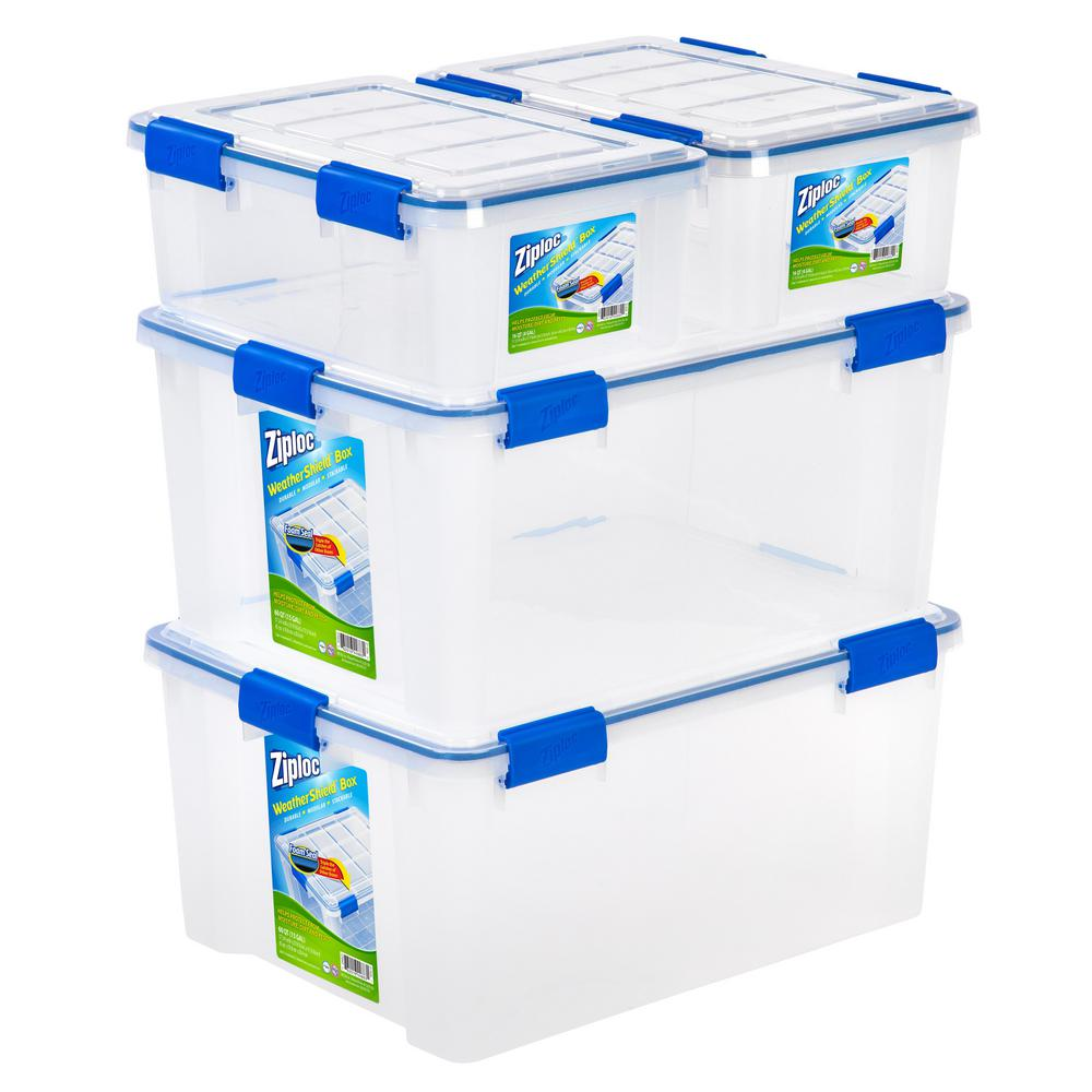 16 and 60 Qt. Set Ziploc Weather Shield Storage Box in Clear (Pack of  sc 1 st  The Home Depot & 60 QT-Quart - Storage Bins u0026 Totes - Storage u0026 Organization - The ...