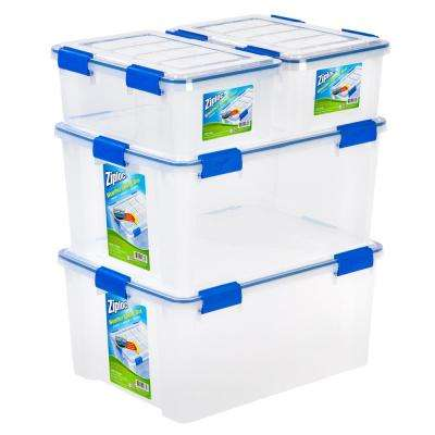 16 and 60 Qt. Set Ziploc Weather Shield Storage Box in Clear (Pack of 4)