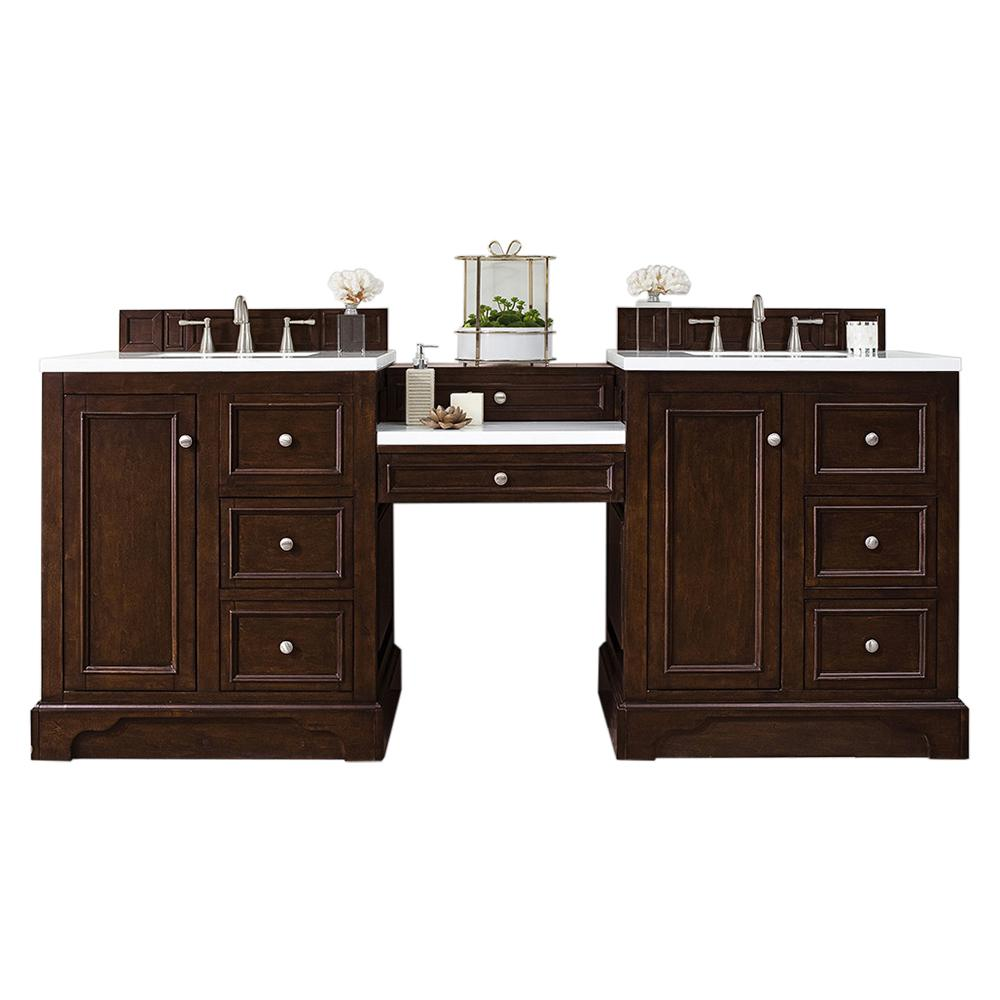 James Martin Vanities De Soto 82 in. W Double Vanity in Burnished Mahogany with Soild Surface Vanity Top in Arctic Fall with White Basin