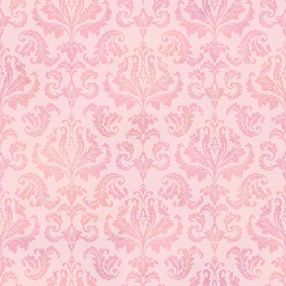 Chesapeake Svetlana Pink Tie Dye Modern Damask Wallpaper