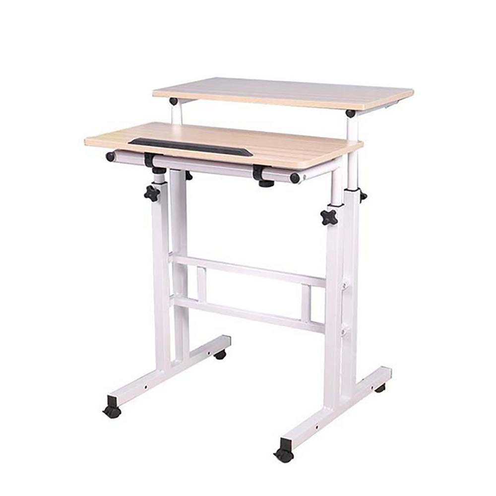 Mind Reader 2 Tier Adjule Sit And Stand Rolling Desk White