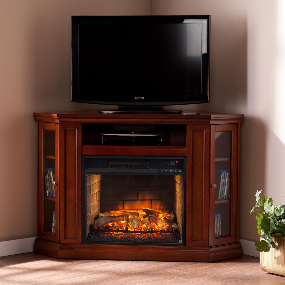 Hudson 48 in. W Convertible Media Infrared Electric Fireplace in Brown