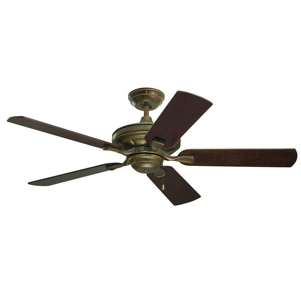 Illumine Zephyr 52 in. Gilded Bronze Indoor Ceiling Fan