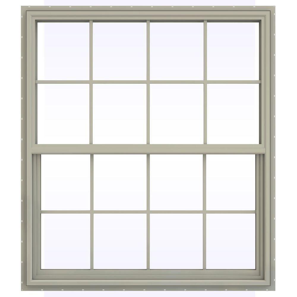 JELD-WEN 47.5 in. x 41.5 in. V-4500 Series Single Hung Vinyl Window with Grids - Tan