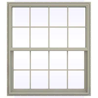 47.5 in. x 53.5 in. V-4500 Series Single Hung Vinyl Window with Grids - Tan