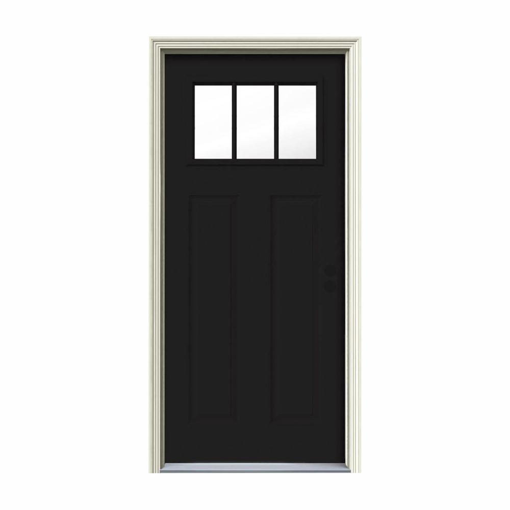 32 in. x 80 in. 3 Lite Craftsman Black Painted Steel Prehung Left-Hand Inswing Front Door w/Brickmould