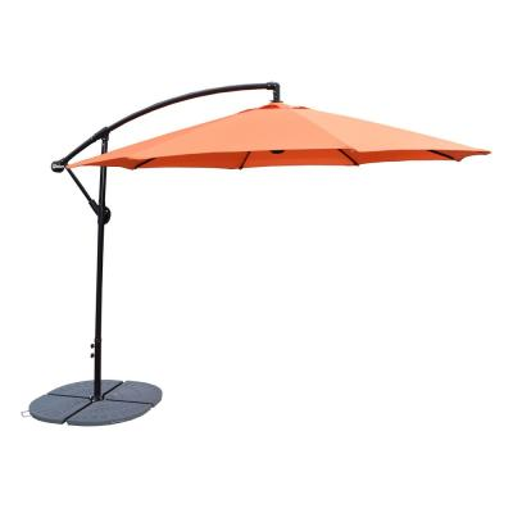 10 ft. Cantilever Patio Umbrella in Burnt Orange and 4-Piece Cast Polyresin Patio Umbrella Base