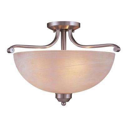 3-Light Brushed Nickel Semi-Flushmount