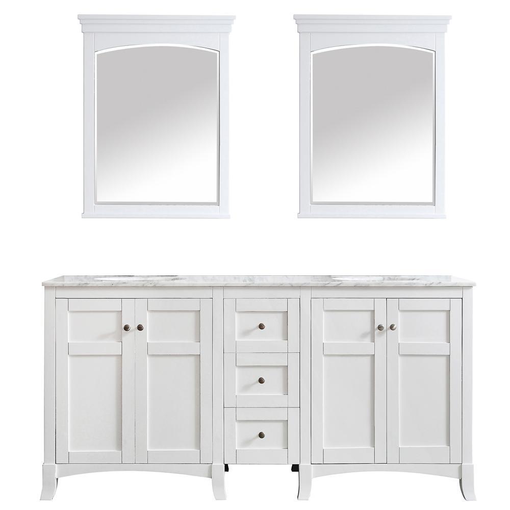 Arezzo 72 in. W x 22 in. D x 36 in. H Vanity in White with Marble Vanity Top in White with White Basin and Mirror