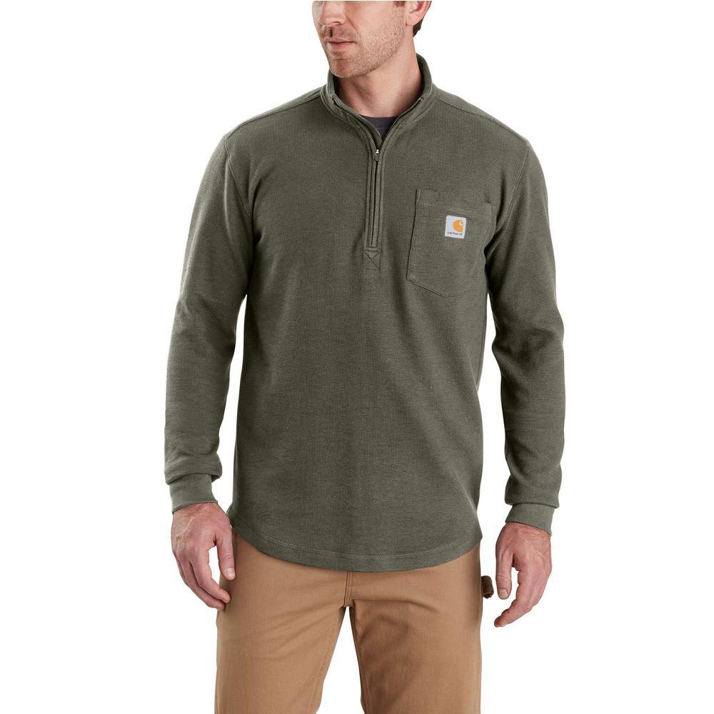 Men's Large Moss Cotton/Polyester Tilden Long Sleeve Half Zip Shirt