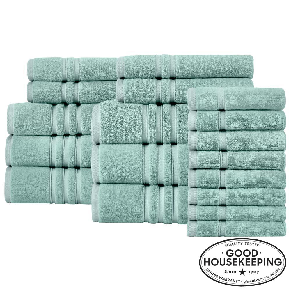 Turkish Cotton Ultra Soft 18-Piece Towel Set in Aqua
