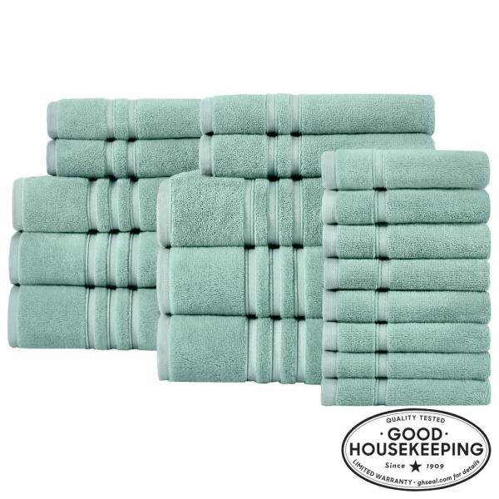 Turkish Cotton Ultra Soft 18-Piece Towel Set in Aqua