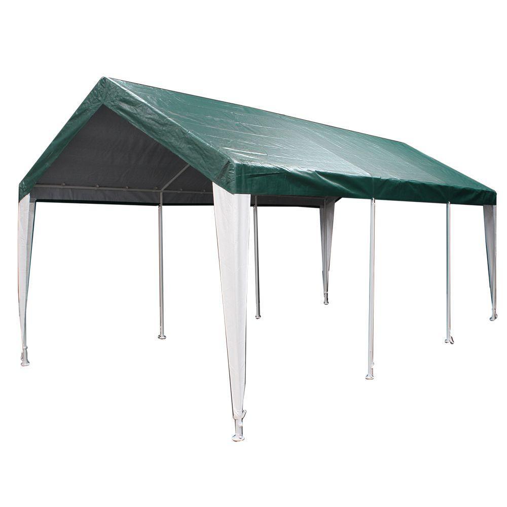 Hercules 10 ft. W x 20 ft. D Steel Canopy in Green/White