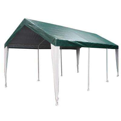 Hercules 10 ft. W x 20 ft. D Steel Canopy in Green/White