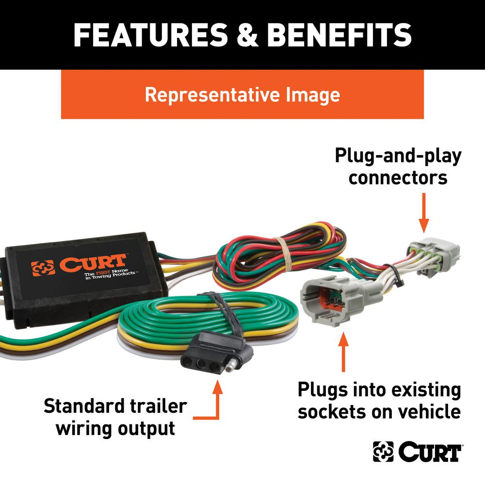 curt custom vehicle-trailer wiring harness, 4-way flat output, select toyota  sienna, quick electrical wire t-connector-56106 - the home depot  the home depot
