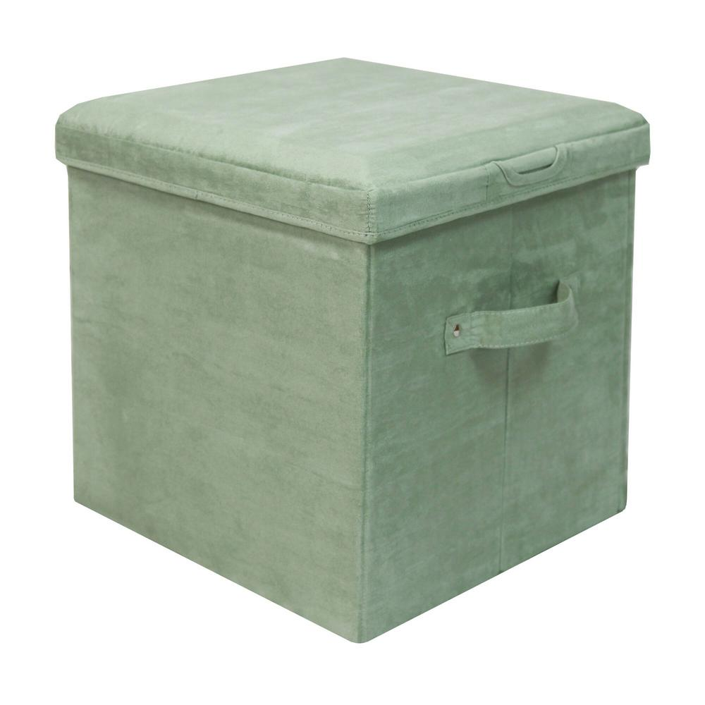 Laurel Green Microsuede Seat Pad Folding Storage Ottoman