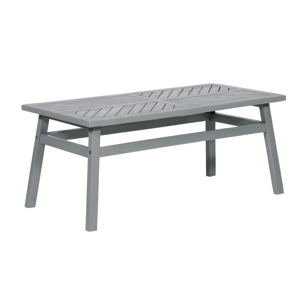Grey Wash Acacia Wood Outdoor Patio Coffee Table