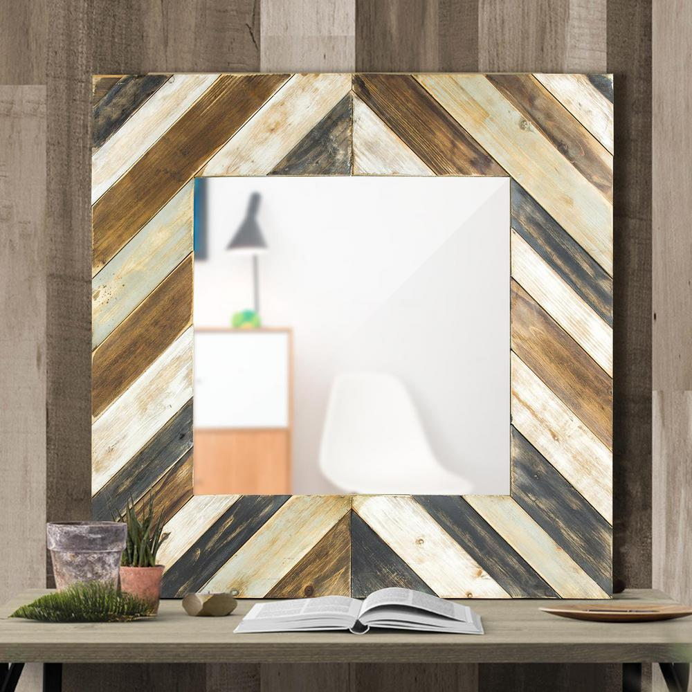 Rustic Wood Plank Square Framed Wall Mirror