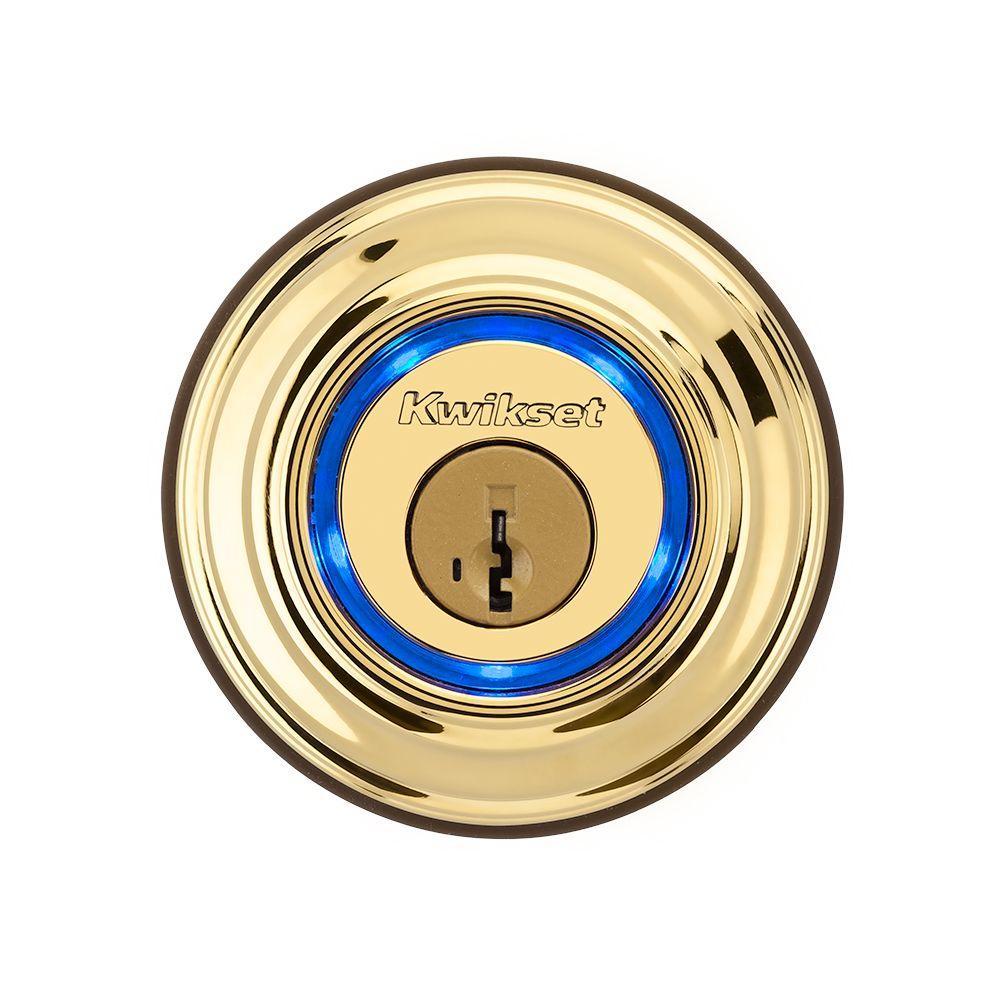 Kevo Lifetime Polished Brass Single Cylinder Touch-to-Open Bluetooth Smart Lock Deadbolt