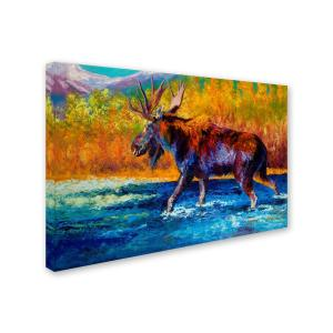 Trademark Fine Art 30 In X 47 In Autumns Glimpse Moose By Marion Rose Printed Canvas Wall Art Ali7677 C3047gg The Home Depot