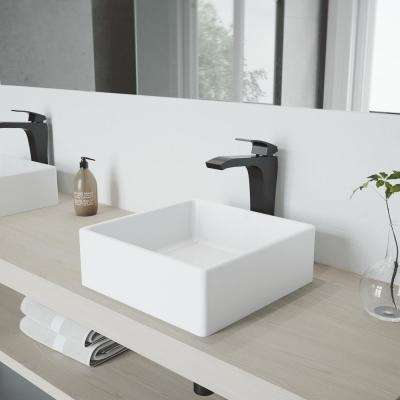 Dianthus Matte Stone Vessel Sink and Matte Black Blackstonian Faucet Set with Pop-up Drain in Matte White